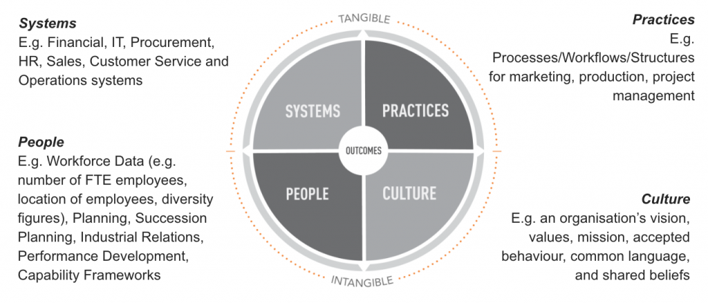 Diagram showing iADAPTE Change Management Principles: 1. Practices, 2. Culture, 3. People, 4. Systems